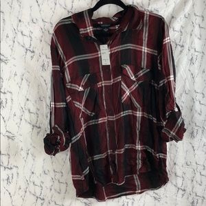 NWT Sanctuary Clothing Plaid Boyfriend Shirt